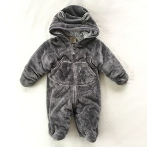 Thick grey fleece suit with ears for baby